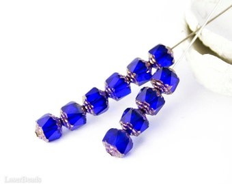 Cobalt Blue Bronze Fire Polished Beads 8mm (20) Czech Polish Round Cathedral Acorn Glass