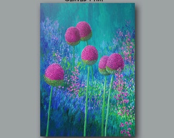 Large wall art, Colorful abstract botanical, Floral artwork, Pink magenta teal blue green, Master bedroom decor, Jewel tone Bohemian style,