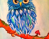 Original Illustration - Little blue Owlie!