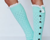 Leg Warmers, Button Up Socks, Gifting, For Her, Lace Trim, Women's Accessories, Stocking Stuffer, Full Button Leg Warmer in Mint (LW-MINTBU)