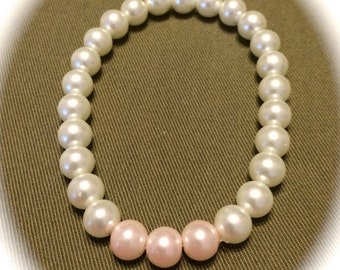 White and Pink Glass Pearl Bracelet