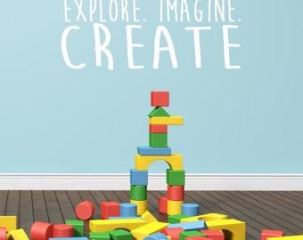 Explore. Imagine. Create. Custom Vinyl Wall Decal Sticker.