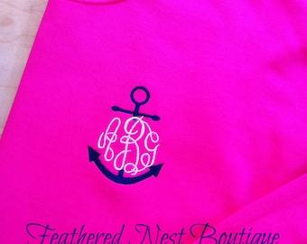 Monogrammed Crew Neck Fleece Sweatshirt - Monogram Sweatshirt - Personalized Sweatshirt - Monogrammed Crewneck Sweatshirt - Use your color
