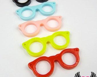 Geeky EYE GLASSES Resin Flatback Decoden Kawaii Cabochons or Pendants 42x16mm (10 pieces)