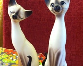 RESERVED for glif   Pair of Decorative Siamese Cat Figurines