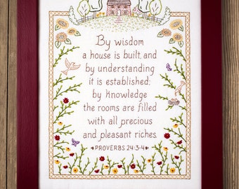 By Wisdom a House is Built - Proverbs Embroidery Pattern in Color - Wedding Housewarming Gift