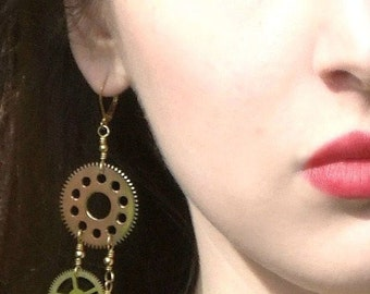 Steampunk Clockwork Earrings Real Authentic Upcycled Vintage Clock Gears OOAK Edgy Mechanical Fashion Dangle Earrings