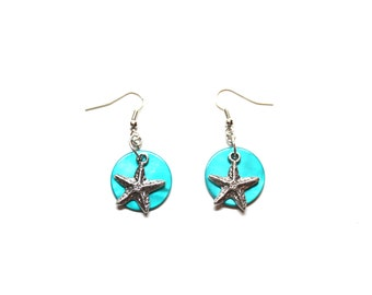 Nautical dangle earrings with starfish charms and teal flat beads, silver toned earrings