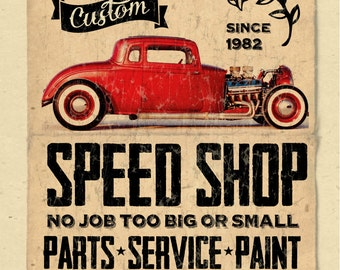 "your name on a personalized Speed Shop - auto repair POSTER - 12""x18"" - gift - custom"