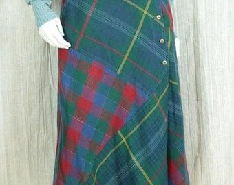 Patchwork skirt Vintage 90s grunge clothing Cotton midi skirt Flared bias skirt Green blue plaid womens long skirt Wrap cotton skirt S M