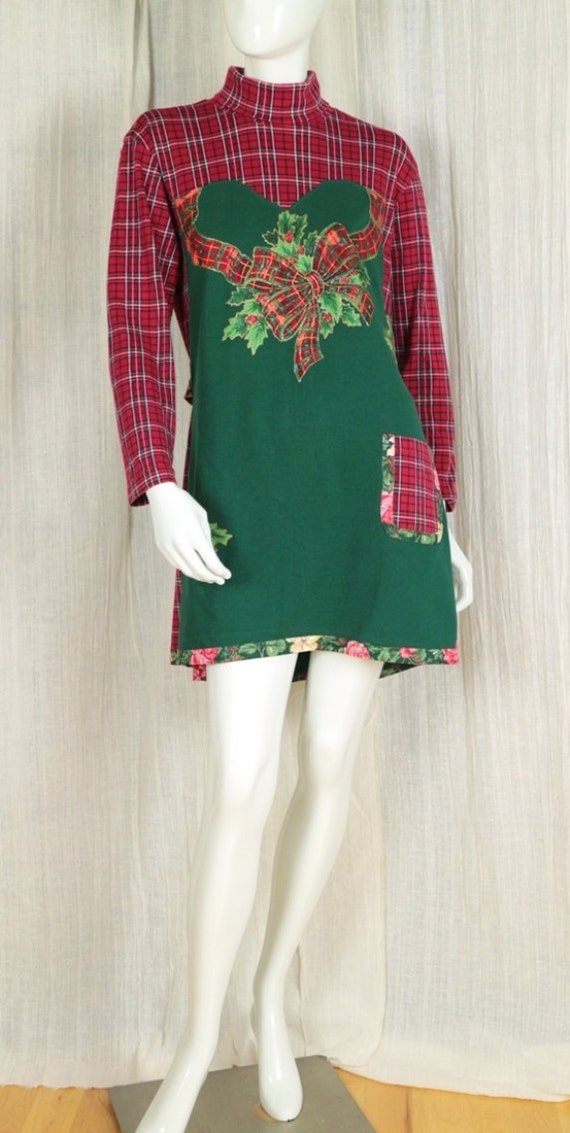Red Green Not So Ugly Christmas Dress Upcycled T Shirt Tunic