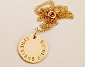 Personalized Gold Bible Verse Necklace - Custom Hand Stamped 14 K Gold Filled Pendant - Graduation, Going Away, Everyday Dainty Trendy Gift