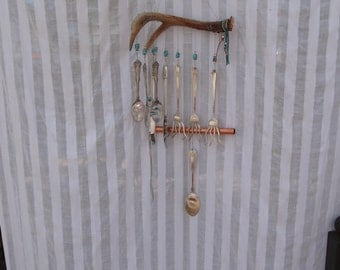 Deer Antler Wind Chime with Silver Plated Utensils WC-039