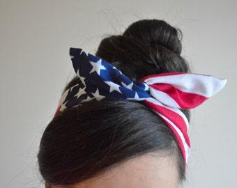 American flag headband, Dolly bow head bands, American Flag head band, hair bow