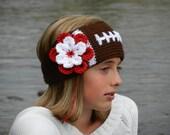 "Tunisian ""Knit-Look"" Crochet Football Headband Earwarmer Pattern with Flower -Tunisian Crochet Football Headband Pattern - Instant Download"