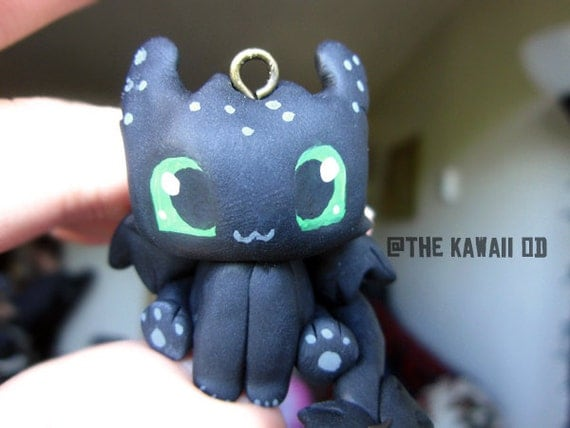 Toothless Figurine/Charm- Polymer clay Hand scupted, Hand painted