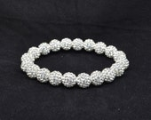 10mm White Pave Crystal Ball Bead Stretch Bracelet - 1020B