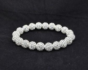 White Pave Crystal Ball Bead Stretch Bracelet - 10mm - 1020B