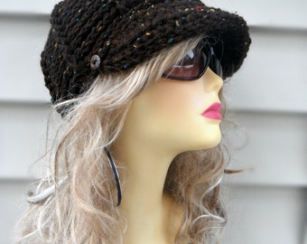 Crochet Newsboy Hat Crochet Brim Hat Brown Newsboy Hat Womens Hat Crochet Winter Hat Hair Accessories Winter Accessories