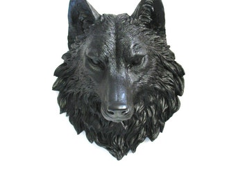 BROWN BLACK Faux Taxidermy Large Wolf Head Wall Decor Wall Mount Hanging Home Decor: Willem the Wolf in brown black