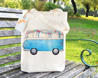 Blue Campervan Tote Bag, Reusable Shopper Bag, Cotton Tote, Ethically Produced Shopping Bag, Eco Tote Bag