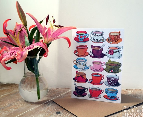 Vintage Teacups Greeting Card