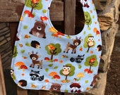 TODDLER BIB: Woodland Forest Animals on Blue, Personalization Available