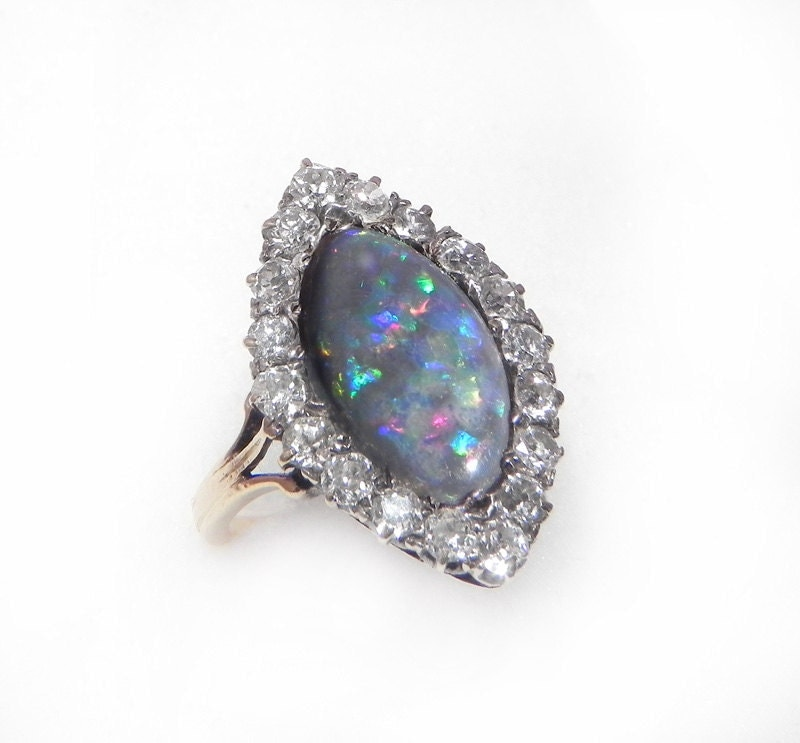 Antique Opal and Diamond Engagement Ring – 5ct Black Opal 1 25ct Old mine cu