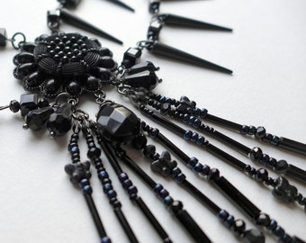 Jet Black Gothic Statement Necklace, neo-Victorian spiked mourning necklace