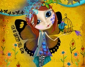 "Title: ""It's Time To Fly"". FREE SHIPPING Inspirational and colorful Giclee Art Print. Butterfly"