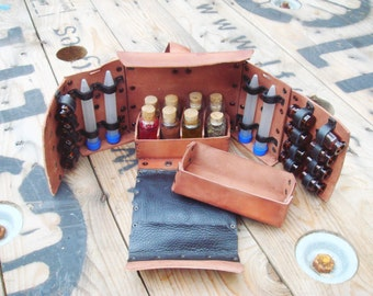 Alchemist Leather Bag Kit With Bottles One or Two colours option