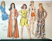 1970s Vintage Simplicity Pattern 8843 Misses Beach Cover Up and Swimsuit size 18 bust 40