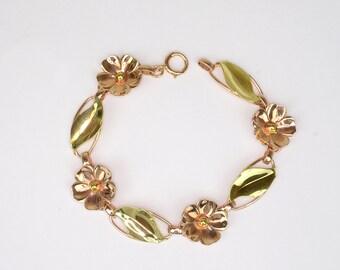 Vintage Bracelet - Vintage Flower and Leaf Bracelet in Rose Gold and Green Gold