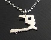 Haiti Necklace - Sterling Silver Necklace - Haiti Charm - Map Necklace - I heart Haiti - I love Haiti