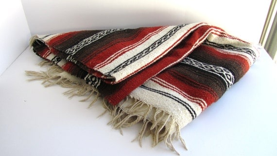 Vintage 80s Mexican Serape Woven Blanket Sienna Brown Black