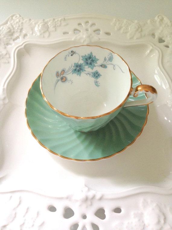 English Bone China Aynsley Tea Cup And Saucer Sage Green