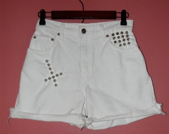 S Small Vintage 80s 90s Hand Studded Cut Offs Studs Crosses High Waist White Hippie Boho Festival Summer Beach Jean Denim OOAK Levi's Shorts