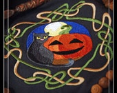 Wheel of the Year, Celtic Knot Samhain Altar Cloth or to use as Cloth for a Halloween Table Center Piece.