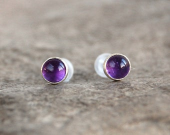 Amethyst Gemstone Stud Earrings - Sterling Silver Purple Stone Post Earrings