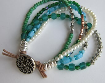Multi Strand Bead, Freshwater Pearl, Silver and Leather Bracelet - Casual, Workplace, For Her, Gift for Friend, Birthday, Unique