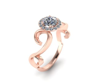 Vine Scroll 14K Engagement Ring with Half Carat and Halo