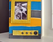 Gray, Aqua, and Mustard Yellow Striped Wood Block Picture Frame