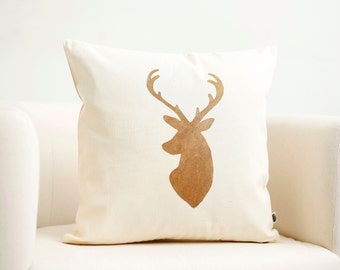 Deer head pillow cover Reindeer Christmas pillow gold print modern pillow winter pillow 0121