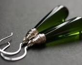 Olive Green Earrings. Long Earrings. Bottle Green Earrings. Long Teardrop Earrings. Green Glass Earrings. Wire Wrapped Earrings.