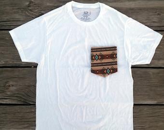Aztec/ Tribal Pocket Tee