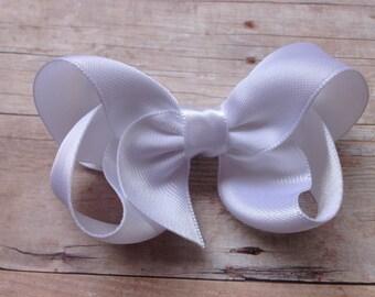 White satin hair bow - white hair bow, satin bow, 3 inch bows, girls hair bows, satin hair bows, white bows, girls bows, toddler bows