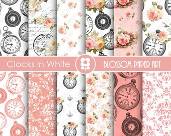 Shabby Chic Scrapbook Paper, Rose Vintage Digital Paper Pack, Wedding, Scrapbooking, Roses - INSTANT DOWNLOAD  - 1812