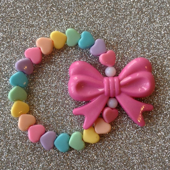 RESERVED for  Janine - Pastel Rainbow Hearts Stretch Bracelet with Pink Bow Charm