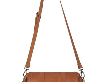 EVERMORE SMALL. Tan leather cross body purse /  leather satchel bag / leather messenger bag / boho. Available in different leather color