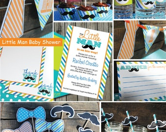 INSTANT DOWNLOAD, Baby Shower, Little Man Mustache Bash Printable Party Package, You Edit Yourself in Adobe Reader